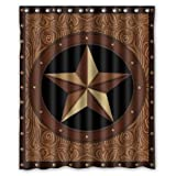 Western Shower Curtains Western Texas Star Polyester Bathroom Shower Curtain 60(W)x72(H)-Inch Comfortable For Life