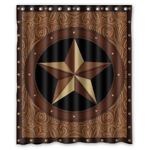 Western Texas Star Polyester Bathroom Shower Curtain 60(W)x72(H)-Inch Comfortable For Life