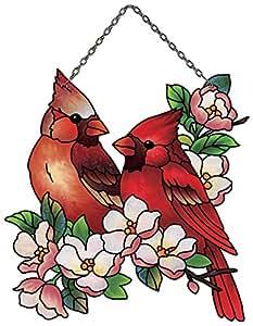 Joan Baker Designs Ssc1041r 2-cardinals Art Glass Suncatcher, 3.5 By 5-inch