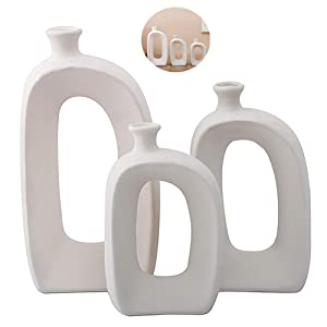 Anding White Ceramic Vase - 3 Set Vases. Matte Design - Modern Vase Decoration. Perfect Home Decoration Vase (LY688set)