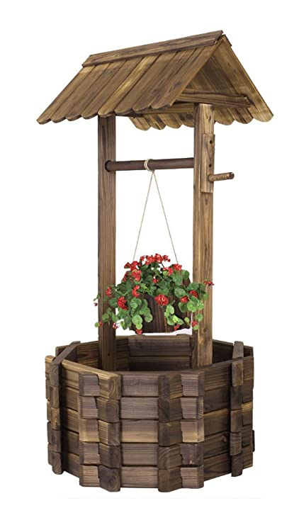 Amazon Com Wishing Well Rustic Fir Wood Bucket Planter Yard Garden