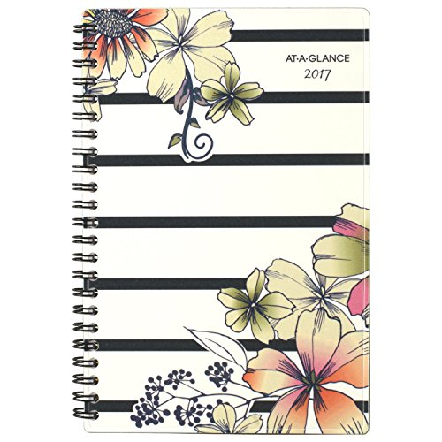 "AT-A-GLANCE Weekly / Monthly Planner / Appointment Book 2017, 4-3/4 x 8"", Monique, Stripe Floral (178-200)"
