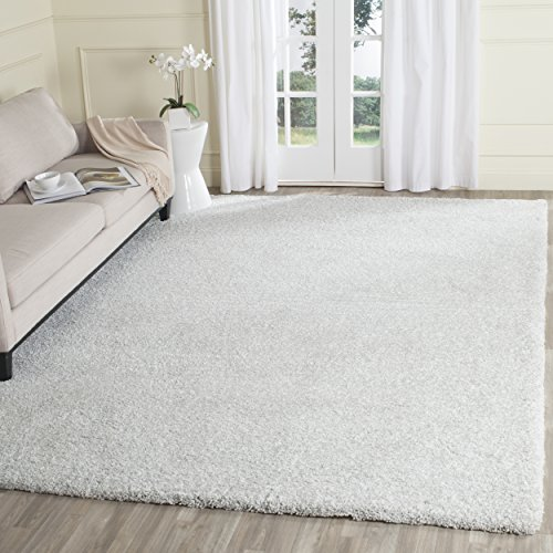 Safavieh Ultimate Shag Collection SGU211A Handmade Silver Ivory Polyester Area Rug (8