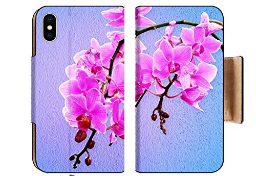 (MSD Apple iPhone XS Flip Pu Wallet Case Image ID: 32648713 Pink Orchid Flowers on a Pastel Background)