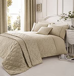NATURAL WHITE BEIGE FLORAL PIPED EMBROIDERED CANADIAN FULL (COMFORTER COVER 200 X 200 - UK DOUBLE) (PLAIN CREAM FITTED SHEET - 137 X 191CM + 25 - UK DOUBLE) 4 PIECE BEDDING SET