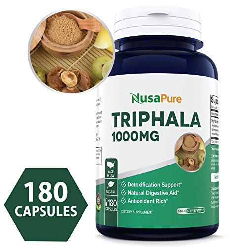 Pure Triphala 1000mg Max Strength 180 Capsules (NON-GMO) - Supports Natural Internal Detox, Healthy Digestion - Rejuvenates Tissues - Natural Antioxidant - 100% Money Back Guarantee - Order Risk Free!