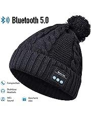 HANPURE Bluetooth Mütze, Bluetooth kopfhörern StrickMütze, Geschenke für Frauen, Pom Pom Mütze mit Bluetooth Lautsprechern, Musik Beanie Mütze mit drahtlosen Kopfhörern Mütze