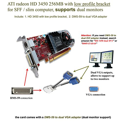 Epic IT Service - ATI Radeon HD 3450 for dual monitor setup (half size bracket, DMS-59 to dual VGA (Ati Radeon Low Profile)