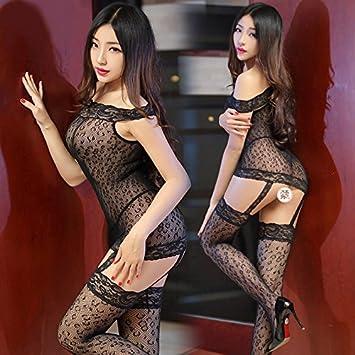 Xy & GK Mujeres Ropa Interior Medias Negra Transparente Vestido de encaje Calcetines, formas tu