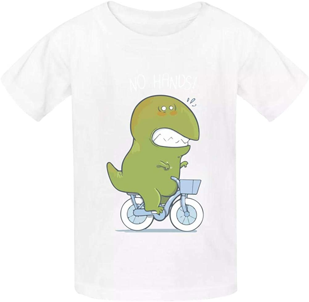 T-Rex Tries Biking Childrens Comfortable and Lovely T Shirt Suitable for Both Boys and Girls