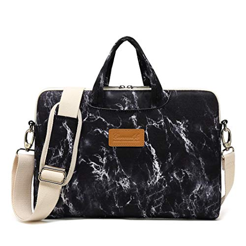 Canvaslife Black Marble Pattern 15 inch Waterproof Laptop Shoulder Messenger Bag Case with Rebound Bubble Protection for 14 inch-15.6 inch Laptop 15 Case Bag (Hp Laptop 13-3 Inch Screen In India)