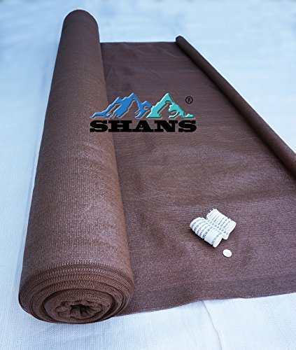 SHANS Fabric for Patio with Clips Free - 90% UV Shade, 6' by 150', Brown by SHANS