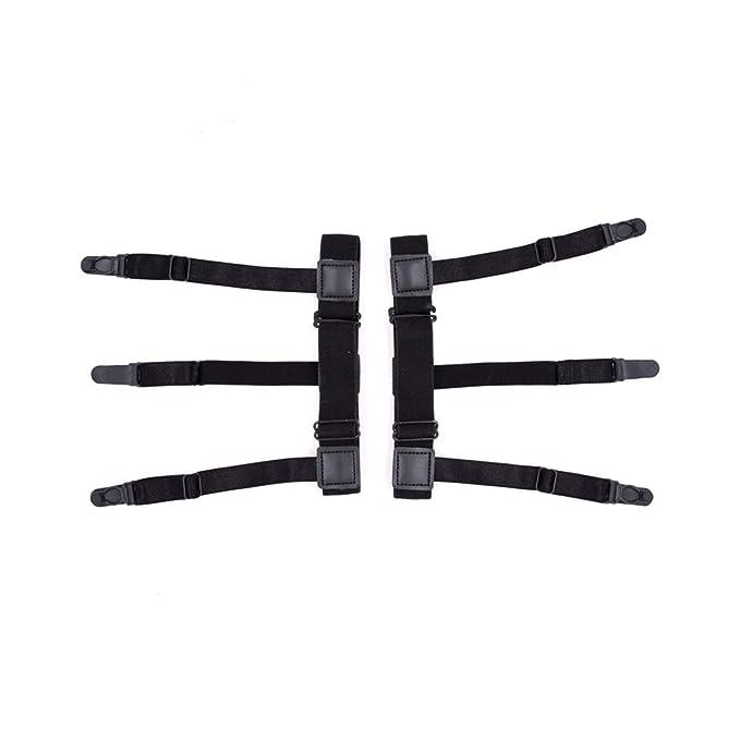 Mens Shirt stays Locking Clamps Elastic Suspenders Non-slip Locking Clamps /… black