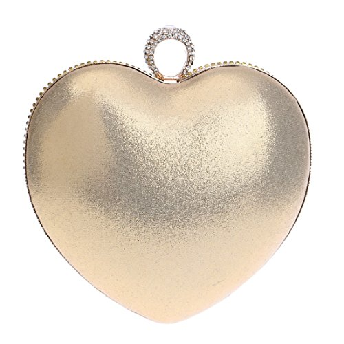 Color And Dress evening bag American New Fly Fashion Light Bride Light Heart European Gold Evening Bag Gradient Clutch shaped Color Gold studded Banquet Bag Diamond 6YnwHnvU