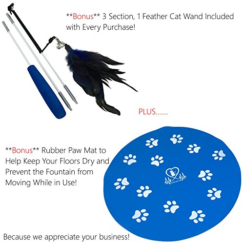 Pet Fit For Life Water Fountain Dispenser Plus Bonus Cat Wand and Mat - 2 Liter Super Quiet Automatic Water Bowl with Charcoal Filter for Dogs, Cats, Birds and Small Animals by Pet Fit For Life (Image #1)