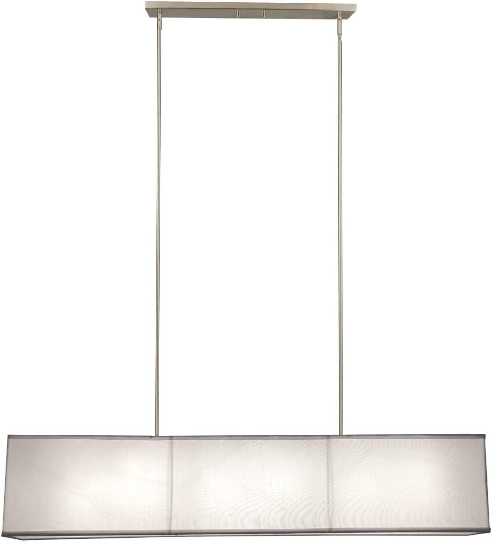 New 6 Lamp 48 Rectangular Textured Linen Shade Chandelier Pendant Lighting Fixture