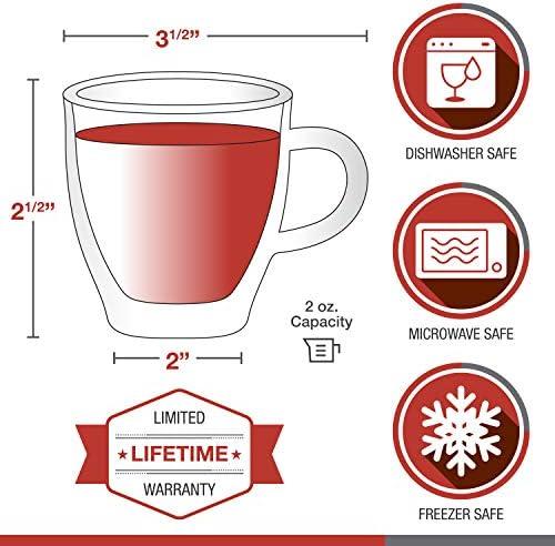 2oz Single Shot Be Your Own Home Barista Double Walled Demitasse Cups Mini Mug Shots Set Epar/é Espresso Glasses