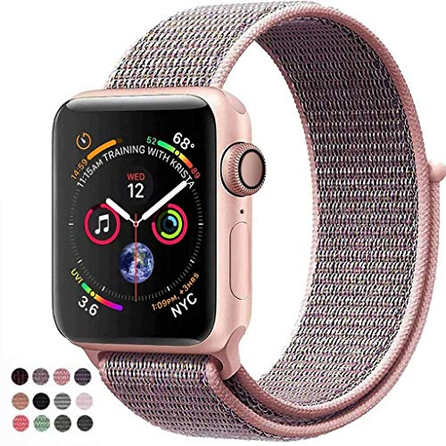 (VATI Replacement Band Compatible for Apple Watch Band 38mm 42mm Soft Breathable Nylon Sport Loop Band Adjustable Wrist Strap Replacement Band Compatible for iWatch Series 3/2/1,Sport,Nike+,Edition)