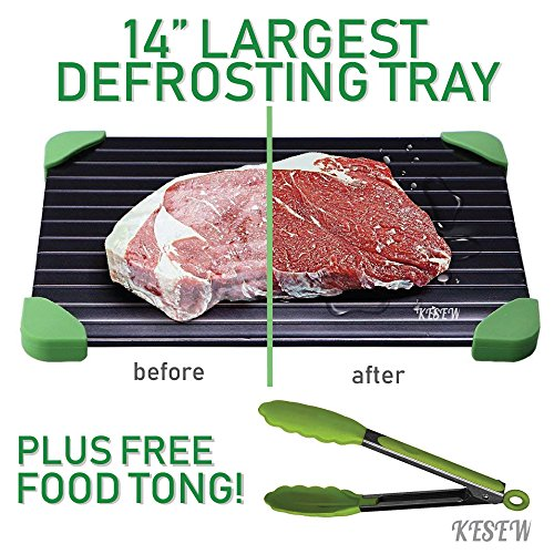Defrosting Tray Set -LARGEST Defrosting Tray With Silicone Rubber Legs Plus Bonus Silicone Food Tong - Fastest, Safest & Easiest Way to Thaw Frozen Meats &Food- No Electricity or Water (Green)