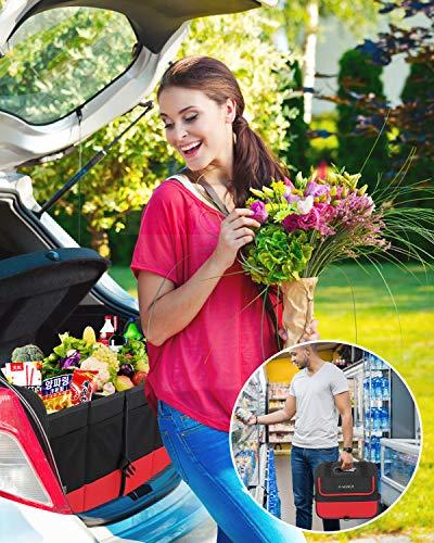 AojSup Premium Kofferraumtasch Kofferraum-Organizer Auto kofferraumtasche, Faltbare Autotasche, Ttragbarem multifunktionellem Lagerplatz, Antirutsch-Klett, 24inch * 11inch * 10inch