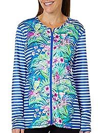 8b3f54df76 Womens Floral Stripe Print Swim Cover-Up Jacket · Paradise Bay