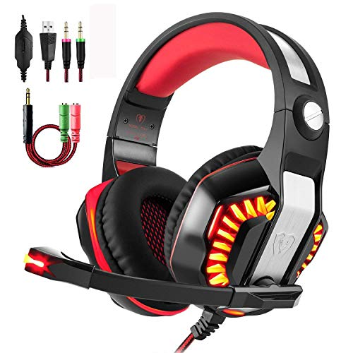 Gaming Headset for PS4 Xbox One, Beexcellent Stereo Over Ear Gaming Headphones Noise Cancelling Wired PC Headset with Mic/Bass Surround/Volume Control/LED Light for Playstation 4/Laptop/Mac/Computer