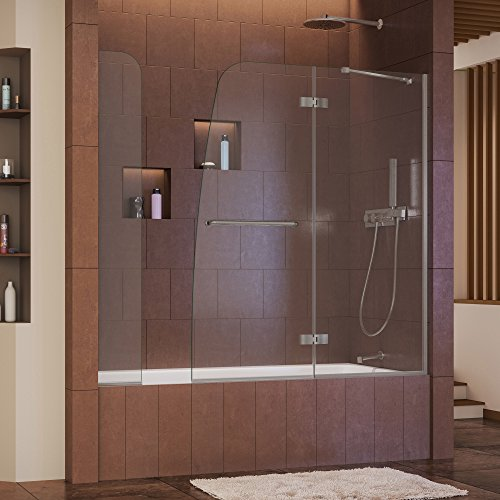 DreamLine Aqua Ultra 57-60 in. Width, Frameless Hinged Tub Door, 5/16'' Glass, Brushed Nickel Finish by DreamLine