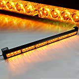 "Xprite 27"" 24 LED Yellow 7 Modes Traffic Advisor Emergency Warning Vehicle Strobe Light Bar Kit"