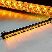 "Xprite 27"" 24 LED Yellow 7 Modes Traffic Advisor Emergency Warning Vehicle Strobe Light Bar Kit"