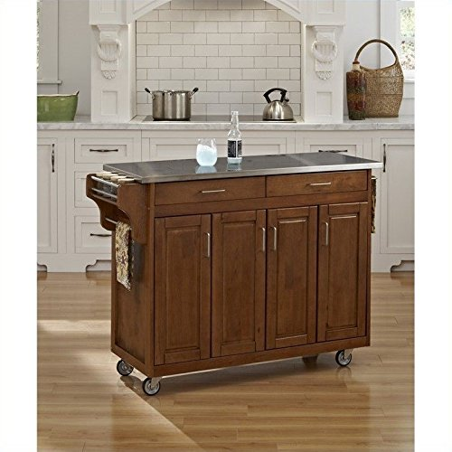 Home Styles 9200-1062 Create-a-Cart 9200 Series Cabinet Kitchen Cart Stainless Steel Top, Cottage Oak Finish - Condiment Cart