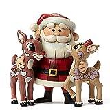 Jim Shore for Enesco Santa Hugging Rudolph & Clarice Figurine, 4.9