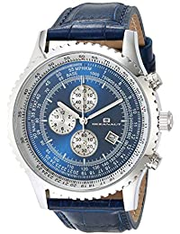 Men's Actuator Stainless Steel Quartz Leather Strap, Blue, 24 Casual Watch (Model: OC0315)