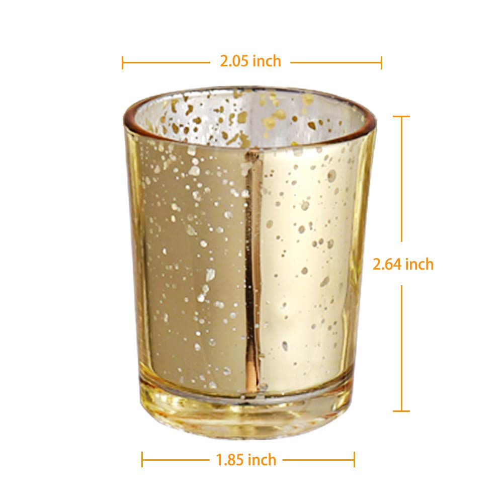 """Glass Tealight Candle Holders for Weddings Parties and Home Decor Luxus Home Gold Mercury Votive Candle Holder 2.64/"""" H, 80PCS"""
