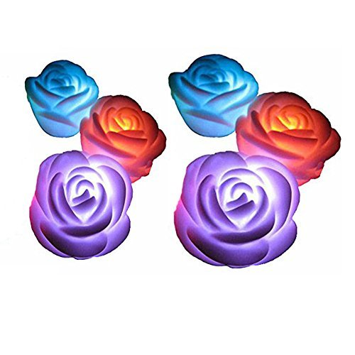 CELLTEK For Valentine's Day Gift Flameless Candles ,6-Battery Powered, Waterproof, Color Changing (7 Colors) LED Romantic Rose Flower Night Light Floating Candle.