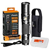 Fenix UC35 V2.0 2018 Upgrade 1000 Lumen Rechargeable Tactical Flashlight with 3500mAh Battery and Lumen Tactical Organizer