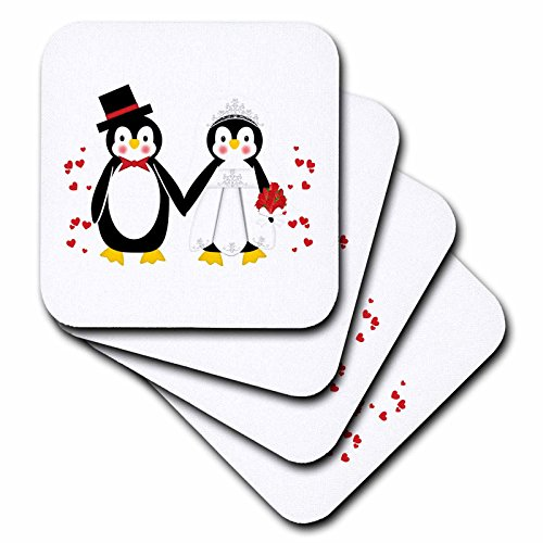 Groom Coaster Set - 3dRose cst_164801_1 Cute Red Hearts Penguin Bride and Groom Wedding Couple-Soft Coasters, Set of 4