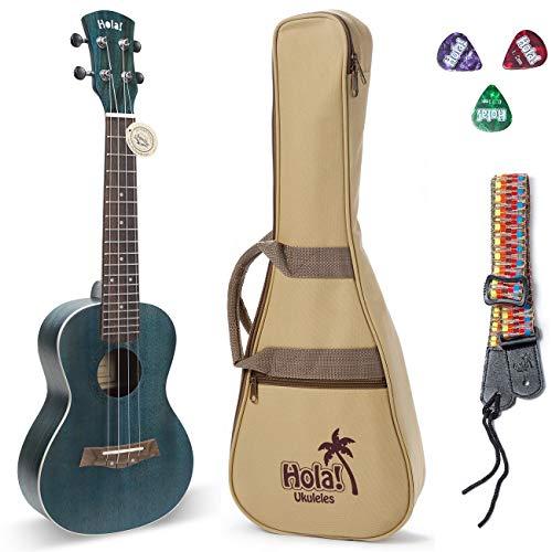 Concert Ukulele Bundle, Deluxe Series by Hola! Music (Model HM-124BU+), Bundle Includes: 24 Inch Mahogany Ukulele with Aquila Nylgut Strings Installed, Padded Gig Bag, Strap and Picks - Blue ()