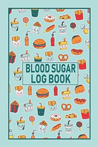 "Blood Sugar Log Book: Diabetic Food Journal | Easy to Use | Fast Food Burger Fries Hot Dog Soda Pop teal green red design | Motivational | Inspirational | 6"" X 9"""