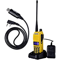 NKTECH USB Programming Cable and BaoFeng UV-82 Tri-Power 8W 4W 1W VHF UHF Dual Band 136-174/400-520 Ham Two Way Radio Walkie Talkie 7.4V Li-ion Batteries Accessories Yellow