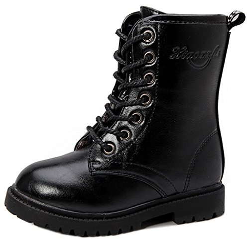 DADAWEN Boy's Girl's Combat Lace-Up Side Zipper Mid Calf Boots Black US Size 12.5 M Little Kid (Combat Child Boots)
