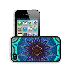 Abstract Blue Colorful Floral Pattern Apple iPhone 4 / 4S Snap Cover Premium Leather Design Back Plate Case Customized Made to Order Support Ready 4 7/16 inch (112mm) x 2 3/8 inch (60mm) x 7/16 inch (11mm) MSD iPhone_4 4S Professional Cases Touch Accessor