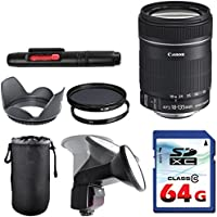 Canon EF-S 18-135mm f/3.5-5.6 IS Lens Bundle + Commander UV Filter + Polarizer Filter + 2 In 1 Lens Cleaning Pen + High Speed 64GB Memory Card + Tulip Hood + Manual Flip Flash + Deluxe Lens Case