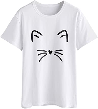 Donna Estate Donna T-Shirt girocollo manica corta T-Shirt Casual Camicetta Stampa Gatto
