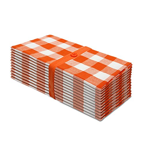 Cotton Craft 12 Pack Gingham Checks Oversized Dinner Napkins - Orange - Size 20