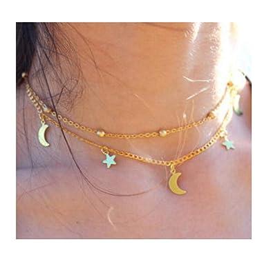 ff8ead6f78604 Amazon.com: Tiande Women Girls Layered Crescent Moons & Stars Beads ...