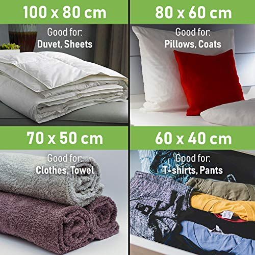 Vacuum Storage Bags - Pack of 15 (3 Jumbo + 4 Large + 4 Medium + 4 Small) ReUsable space savers with free Hand Pump for travel packing. Sealer Bags for Clothes, Duvets, Pillows, Blankets, Curtains