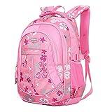 JiaYou Kid Child Girl Flower Printed Backpack School Bag(Pink,Large)