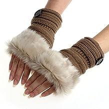 FEITONG FEITONG 2016 Fashion Women Winter Warm Fur Wrist Fingerless Gloves Mittens