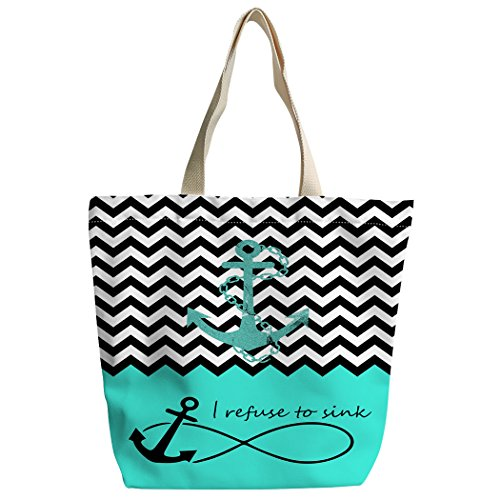 SXCHEN Black white Cheron love anchor Custom Canvas Tote Bag Handbag