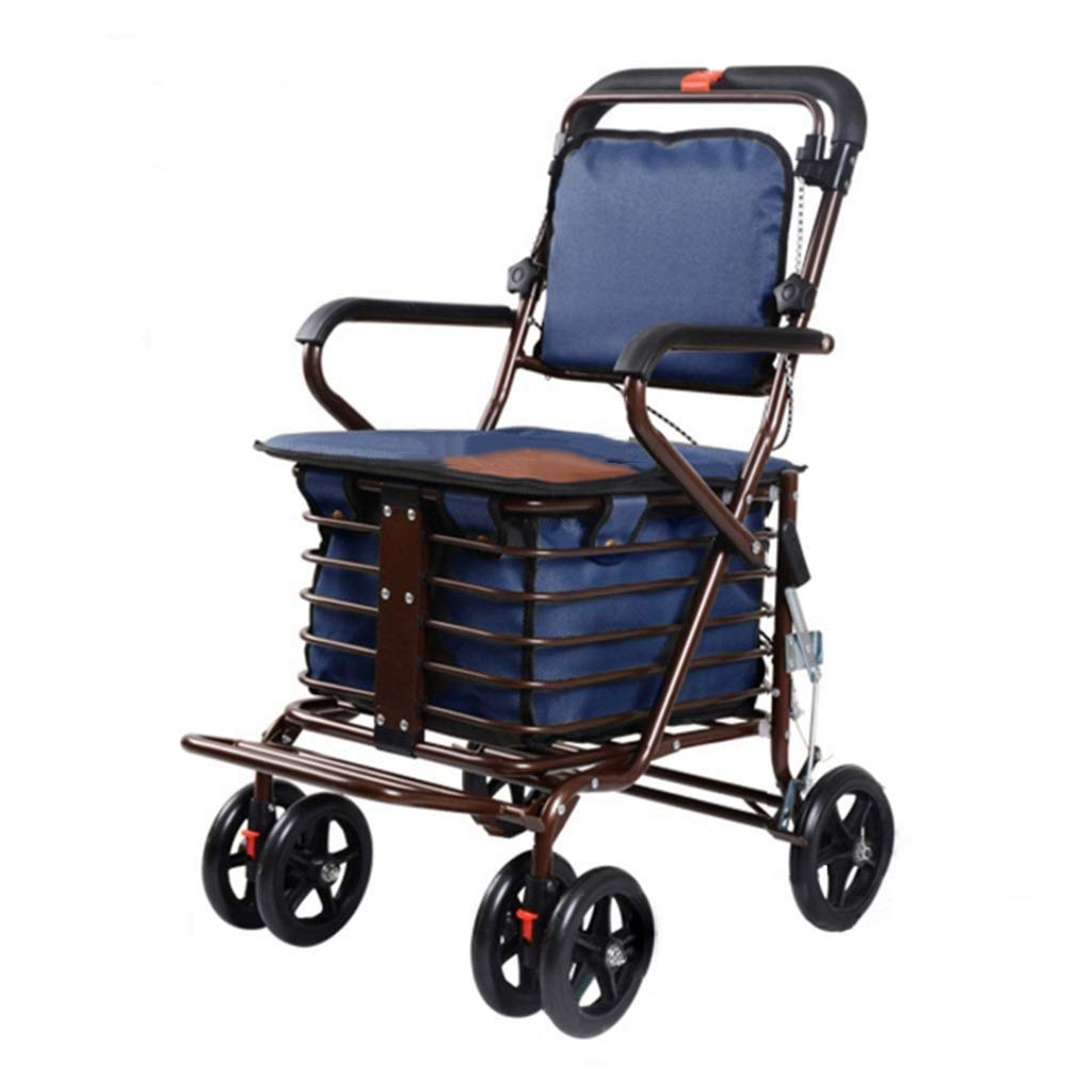 Folding Four-Wheeled Walker 360 Degree Rotation with Wheelchair Walking Frame for The Elderly Shopping Pedal Walker Shopping Cart Trolley